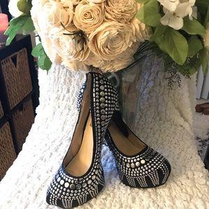 Two Lips black Studlee studded platform heels
